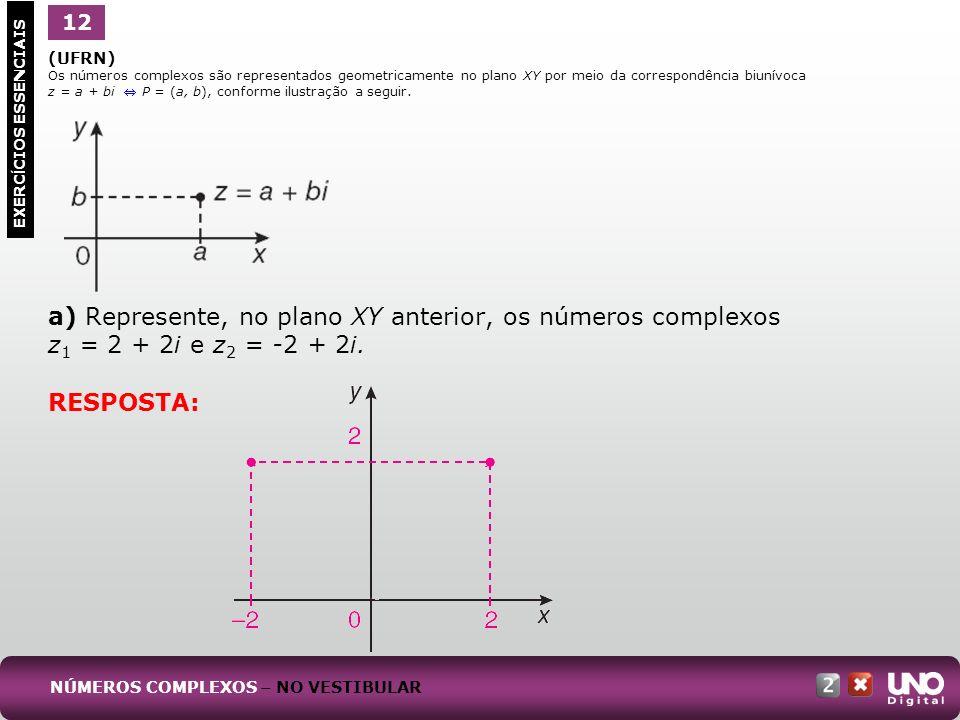a) Represente, no plano XY anterior, os números complexos