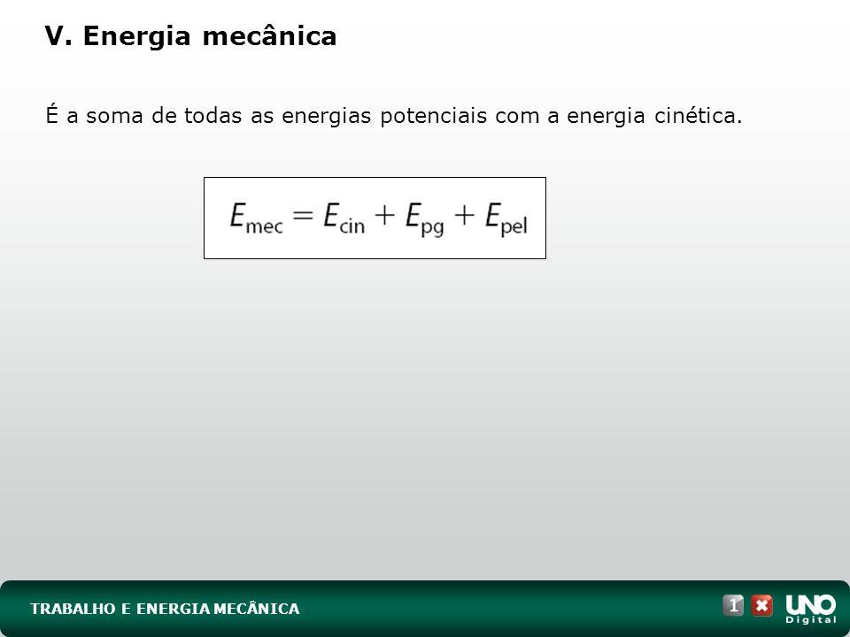 Fis-cad-1-top-4 – 3 Prova V. Energia mecânica. É a soma de todas as energias potenciais com a energia cinética.
