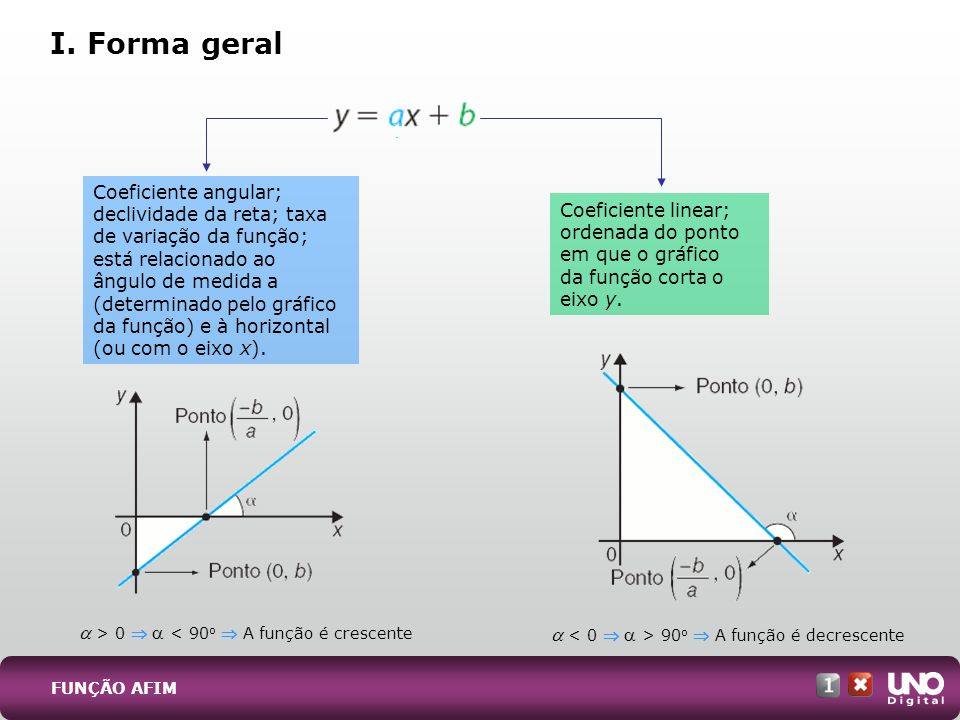 I. Forma geral Coeficiente angular; declividade da reta; taxa
