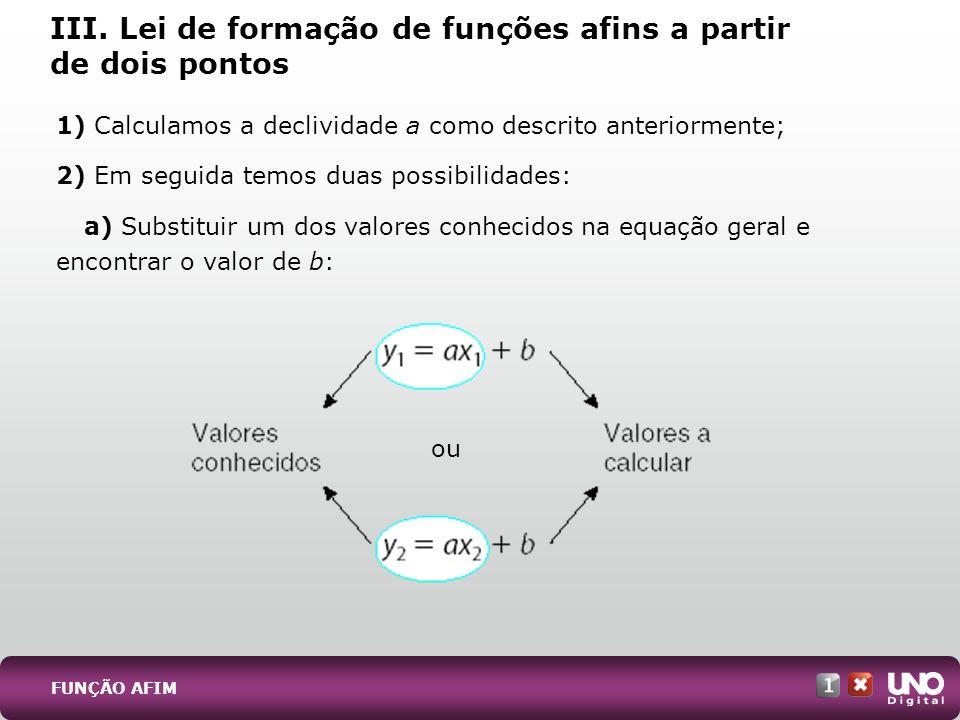 III. Lei de formação de funções afins a partir de dois pontos