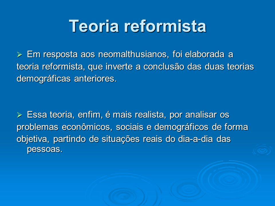 Teoria reformista Em resposta aos neomalthusianos, foi elaborada a
