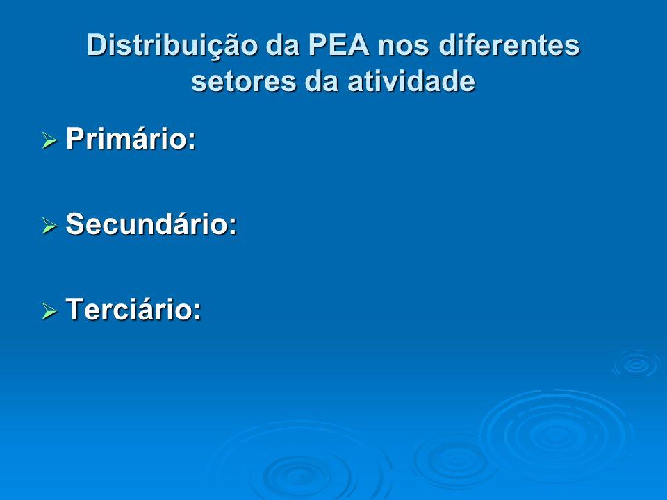 Distribuição da PEA nos diferentes setores da atividade
