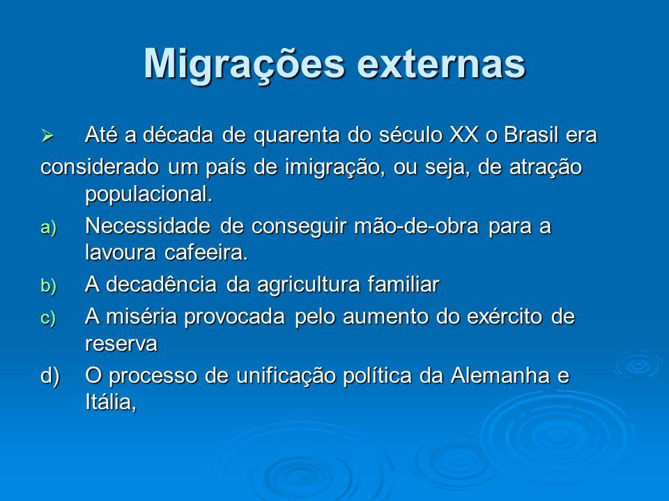 Migrações externas Até a década de quarenta do século XX o Brasil era