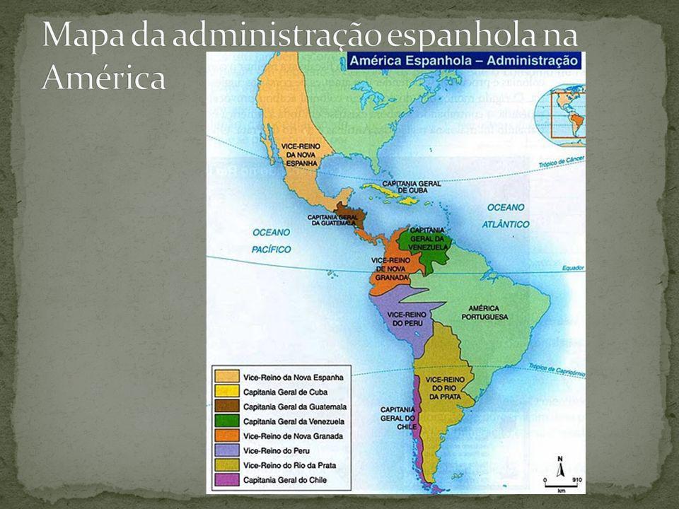 Mapa da administração espanhola na América