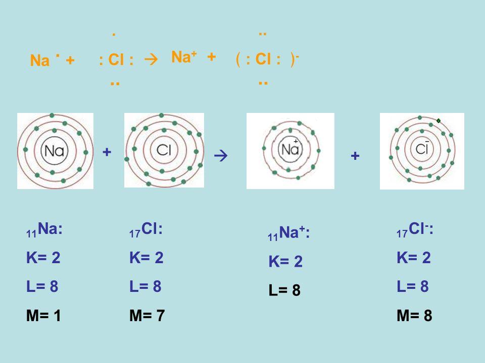 .. . : Cl :  .. ﴾ : Cl : ﴿- Na . + Na+ + +  + 11Na: K= 2 L= 8 M= 1