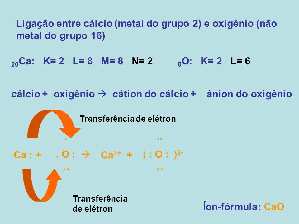 Ligação entre cálcio (metal do grupo 2) e oxigênio (não metal do grupo 16)