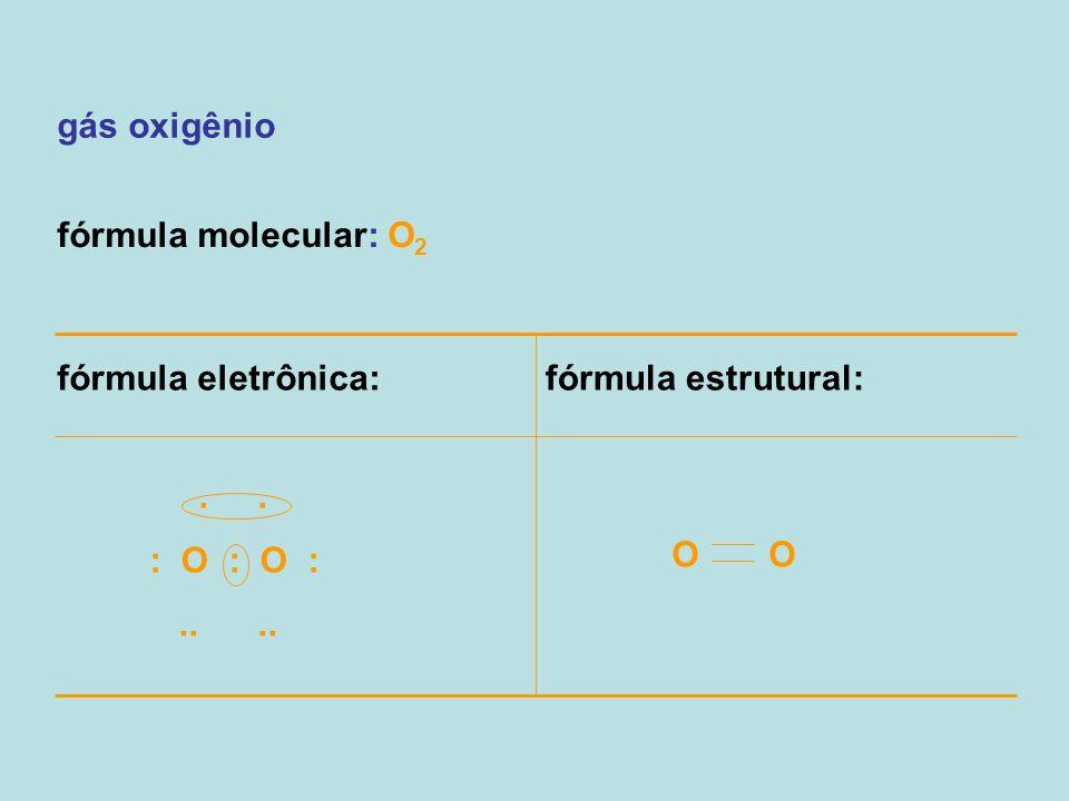 gás oxigênio fórmula molecular: O2. fórmula eletrônica: fórmula estrutural: . . : O : O :