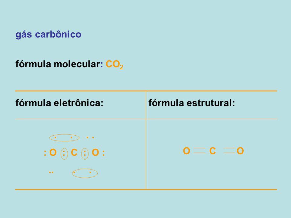 gás carbônico fórmula molecular: CO2. fórmula eletrônica: fórmula estrutural: . . . . : O : C : O :