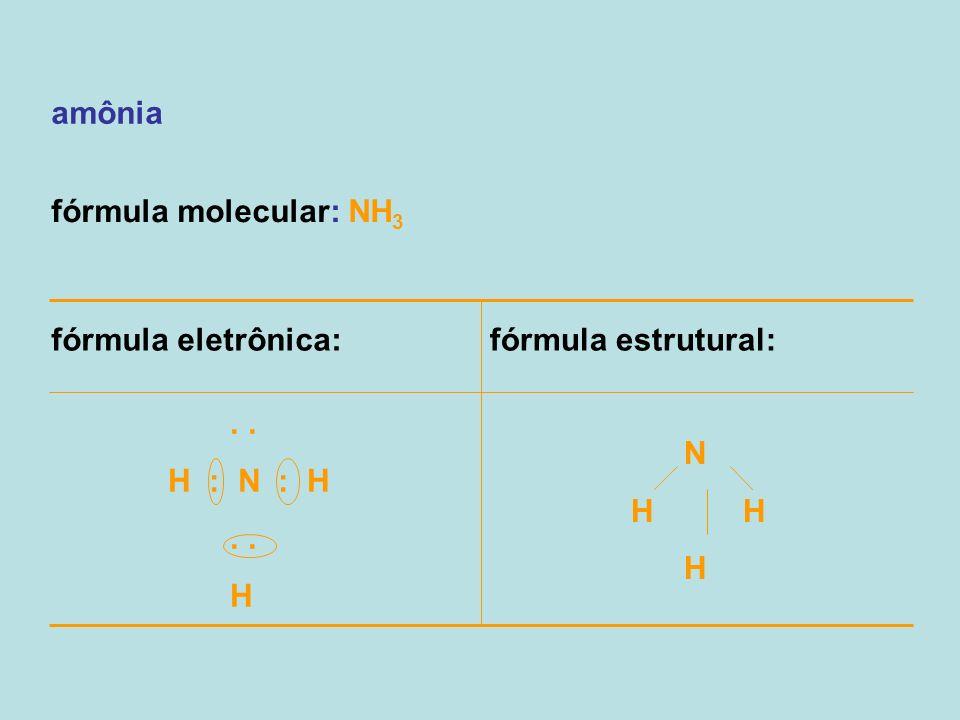amônia fórmula molecular: NH3. fórmula eletrônica: fórmula estrutural: . . H : N : H. H. N.