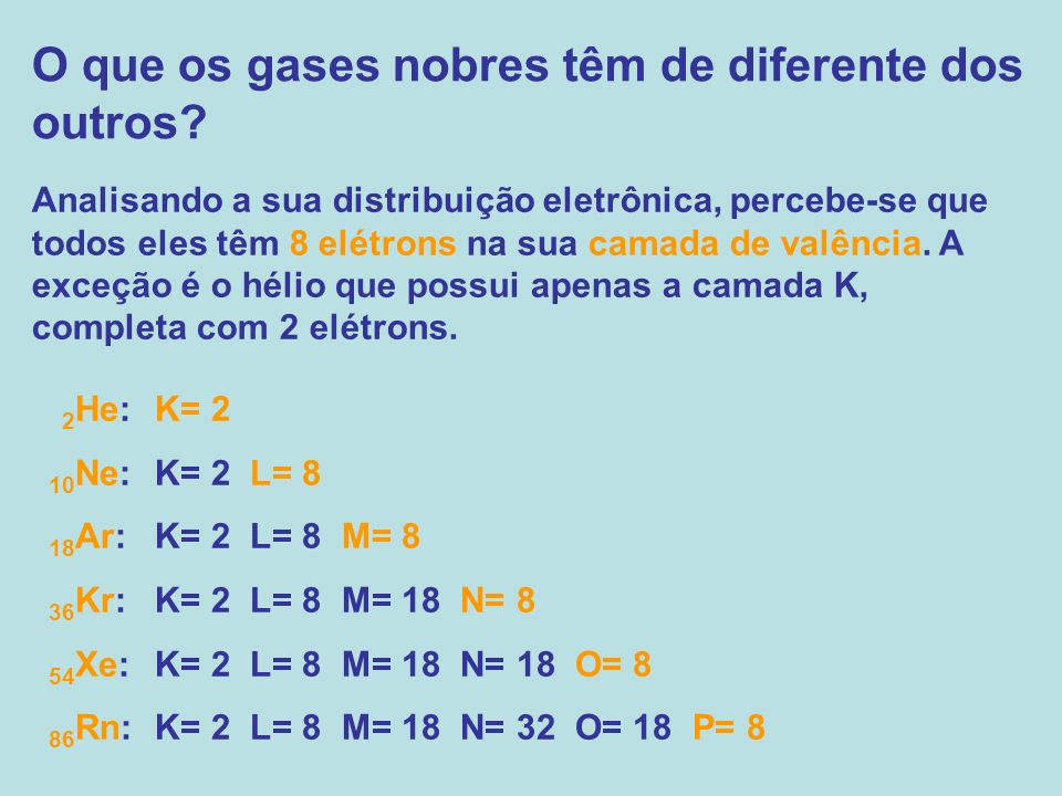 O que os gases nobres têm de diferente dos outros