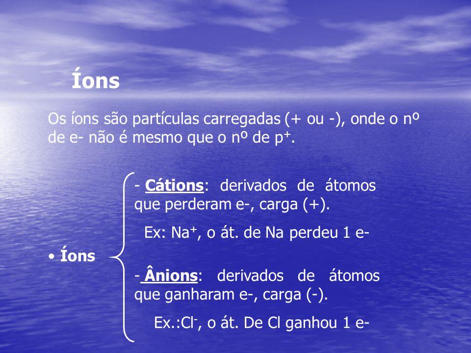 Íons Os íons são partículas carregadas (+ ou -), onde o nº de e- não é mesmo que o nº de p+.
