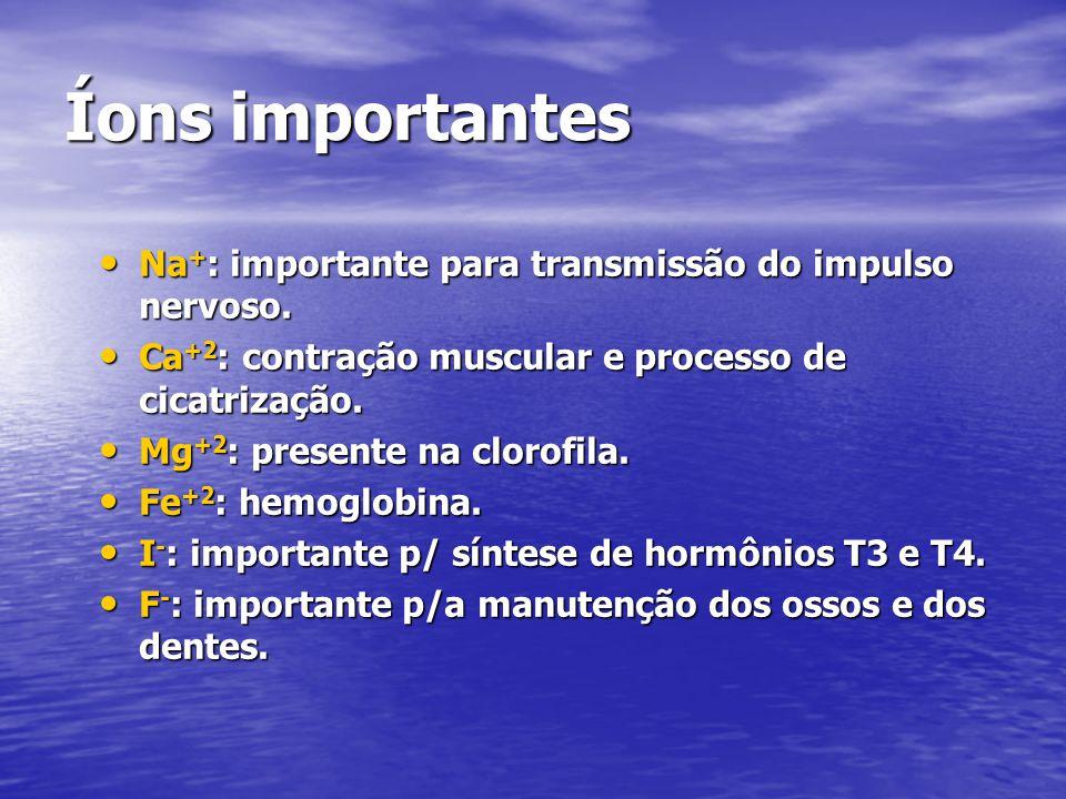 Íons importantes Na+: importante para transmissão do impulso nervoso.