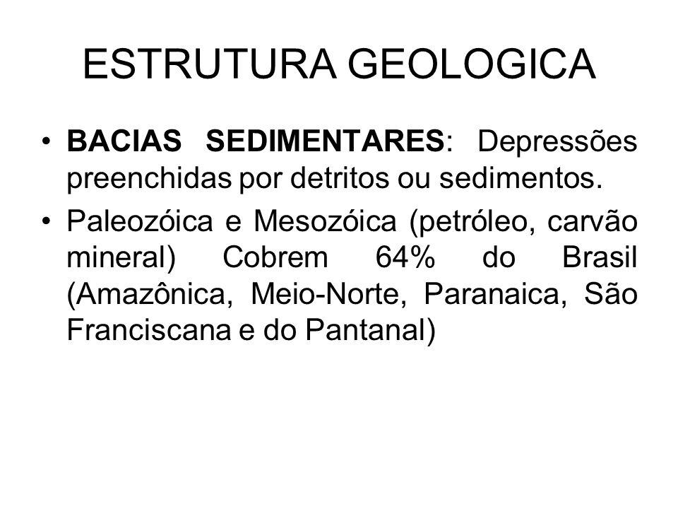 ESTRUTURA GEOLOGICA BACIAS SEDIMENTARES: Depressões preenchidas por detritos ou sedimentos.