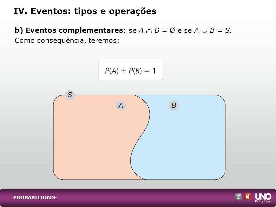 IV. Eventos: tipos e operações