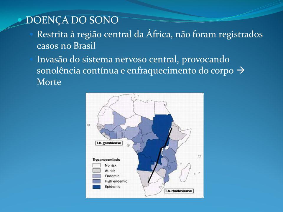 DOENÇA DO SONO Restrita à região central da África, não foram registrados casos no Brasil.