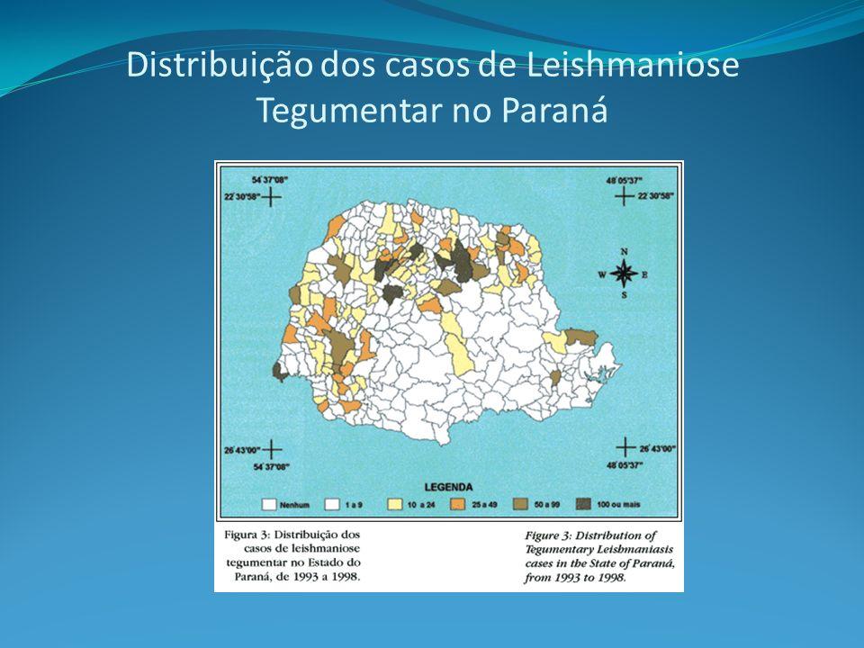 Distribuição dos casos de Leishmaniose Tegumentar no Paraná