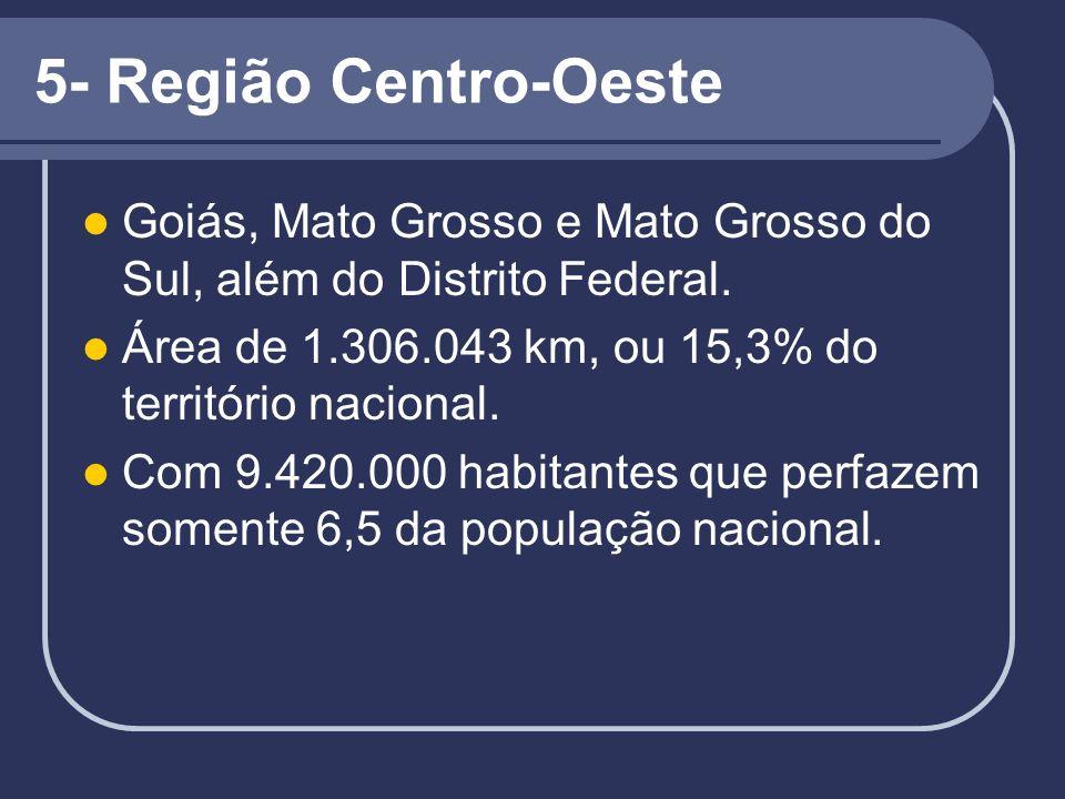 5- Região Centro-Oeste Goiás, Mato Grosso e Mato Grosso do Sul, além do Distrito Federal. Área de 1.306.043 km, ou 15,3% do território nacional.