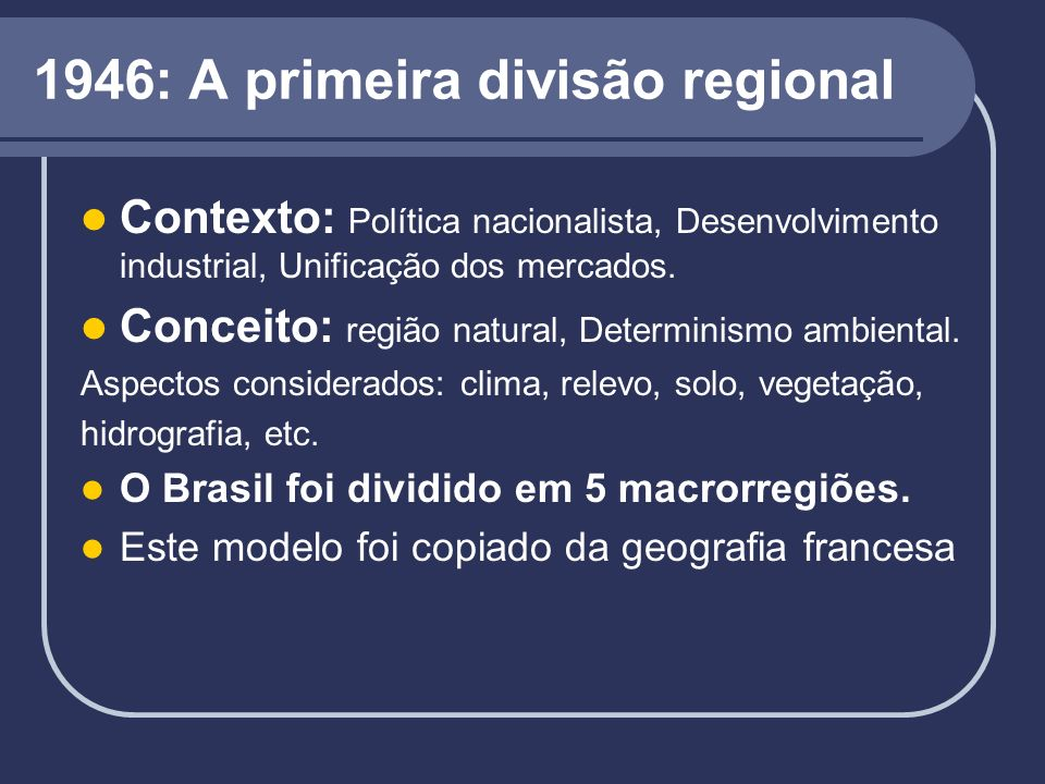 1946: A primeira divisão regional