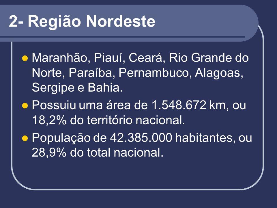 2- Região Nordeste Maranhão, Piauí, Ceará, Rio Grande do Norte, Paraíba, Pernambuco, Alagoas, Sergipe e Bahia.