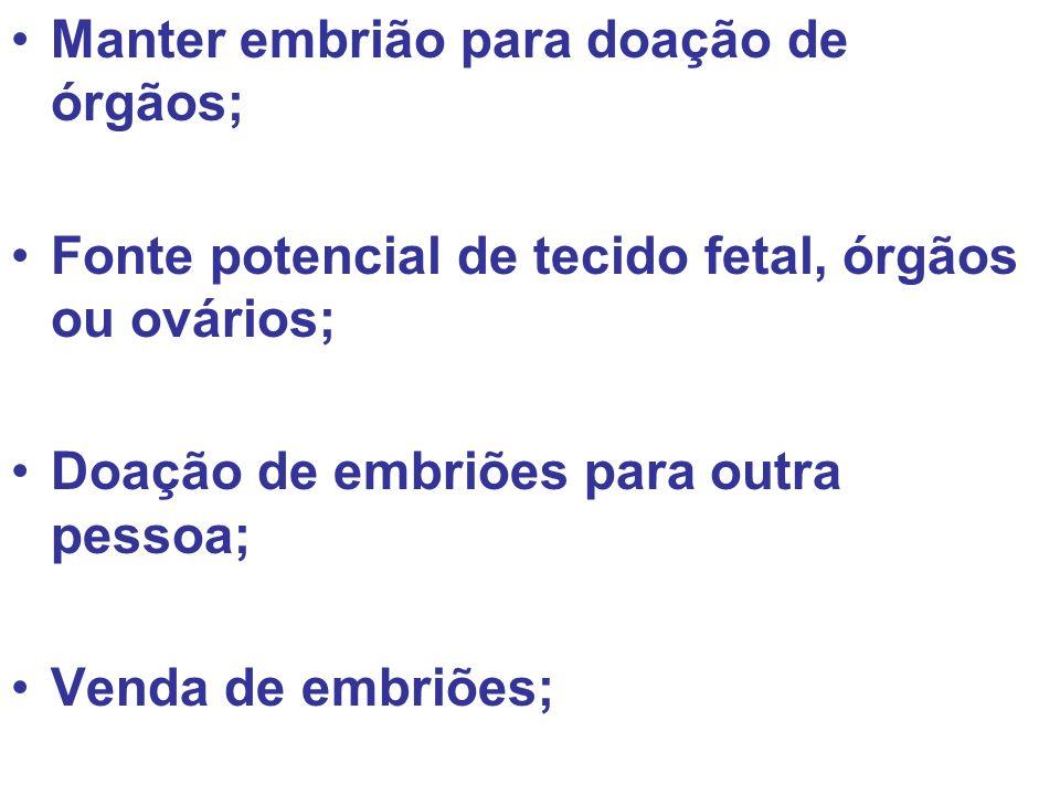 Manter embrião para doação de órgãos;