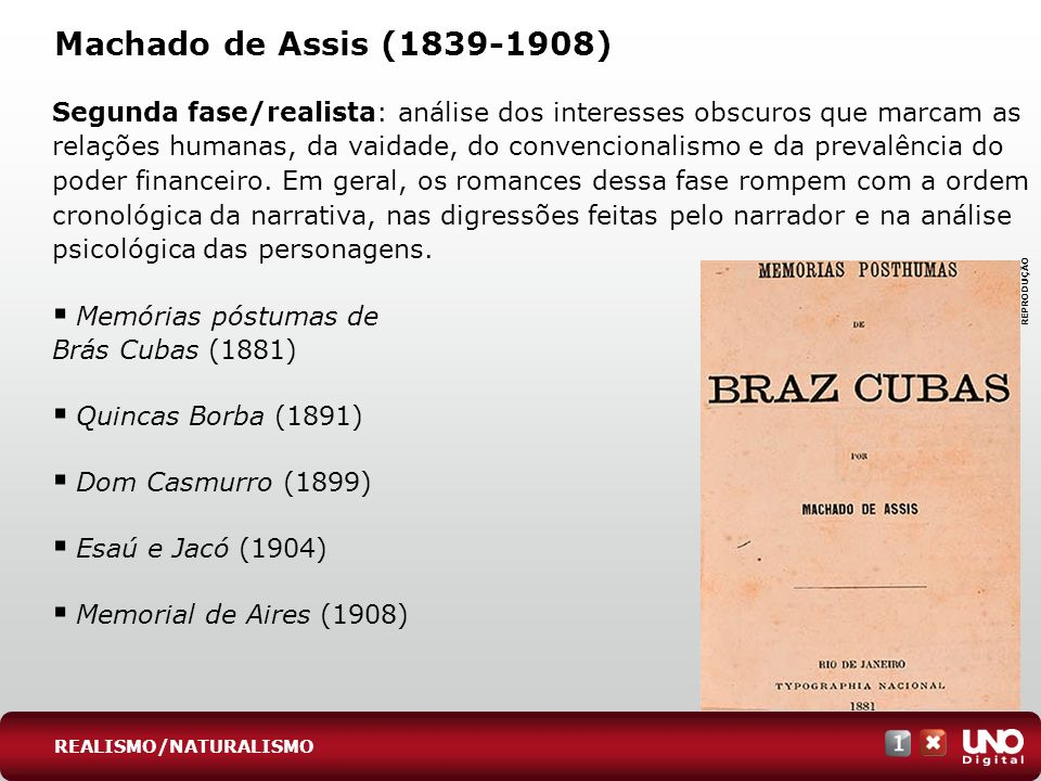 Lit-cad-1-top-6 - 3 prova Machado de Assis (1839-1908)