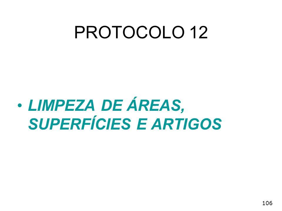 PROTOCOLO 12 LIMPEZA DE ÁREAS, SUPERFÍCIES E ARTIGOS 106
