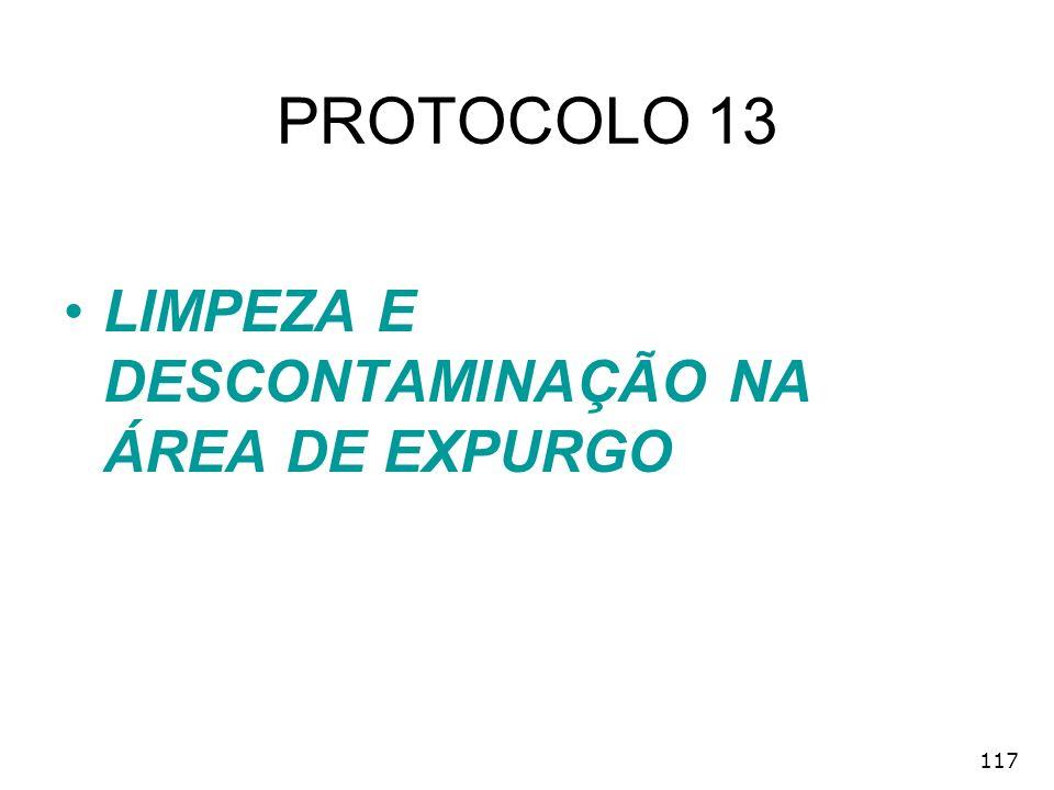 PROTOCOLO 13 LIMPEZA E DESCONTAMINAÇÃO NA ÁREA DE EXPURGO 117