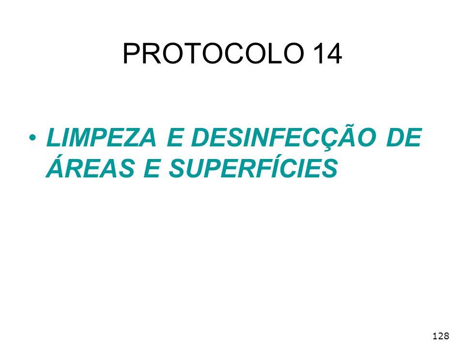 PROTOCOLO 14 LIMPEZA E DESINFECÇÃO DE ÁREAS E SUPERFÍCIES 128
