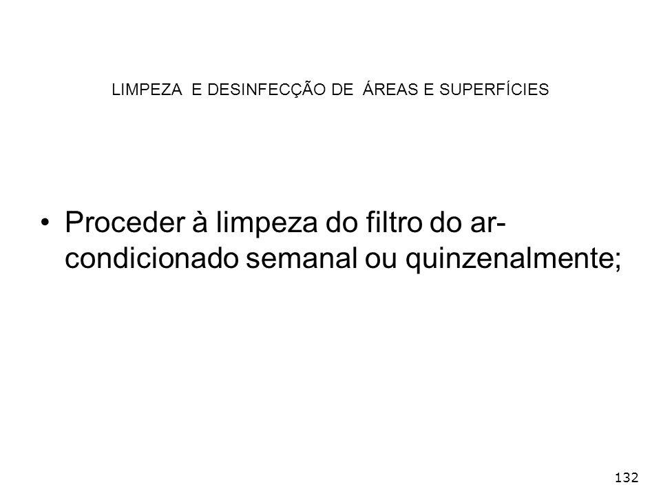 LIMPEZA E DESINFECÇÃO DE ÁREAS E SUPERFÍCIES