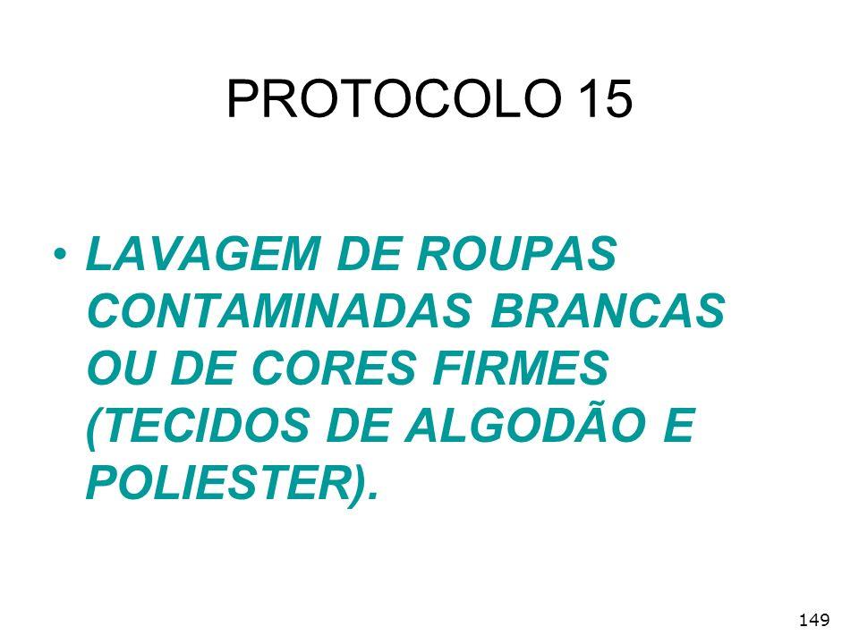 PROTOCOLO 15 LAVAGEM DE ROUPAS CONTAMINADAS BRANCAS OU DE CORES FIRMES (TECIDOS DE ALGODÃO E POLIESTER).