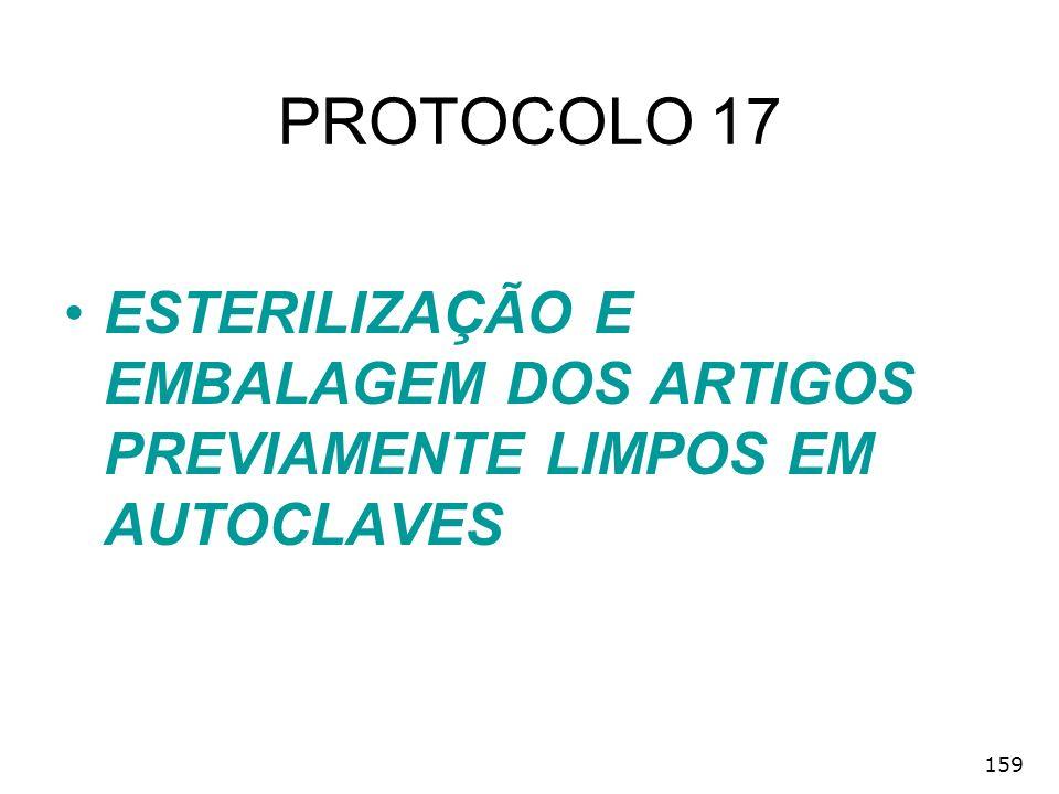 PROTOCOLO 17 ESTERILIZAÇÃO E EMBALAGEM DOS ARTIGOS PREVIAMENTE LIMPOS EM AUTOCLAVES 159