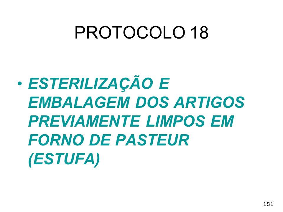 PROTOCOLO 18 ESTERILIZAÇÃO E EMBALAGEM DOS ARTIGOS PREVIAMENTE LIMPOS EM FORNO DE PASTEUR (ESTUFA) 181.