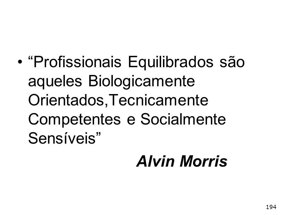 Profissionais Equilibrados são aqueles Biologicamente Orientados,Tecnicamente Competentes e Socialmente Sensíveis