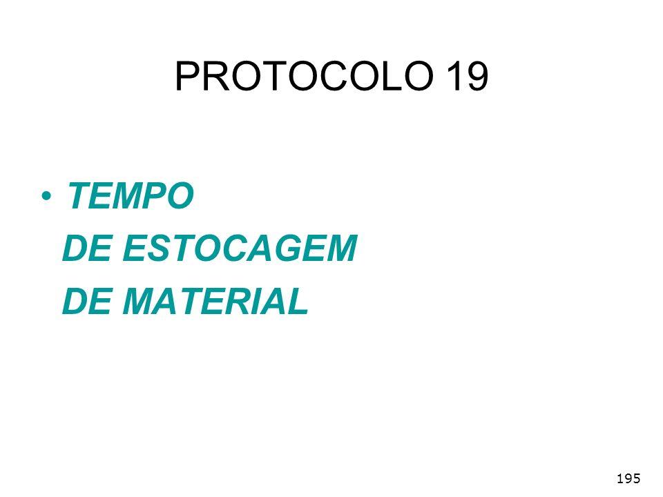 PROTOCOLO 19 TEMPO DE ESTOCAGEM DE MATERIAL 195