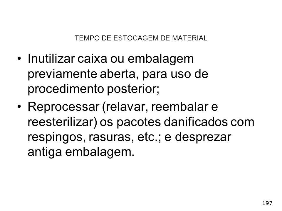 TEMPO DE ESTOCAGEM DE MATERIAL