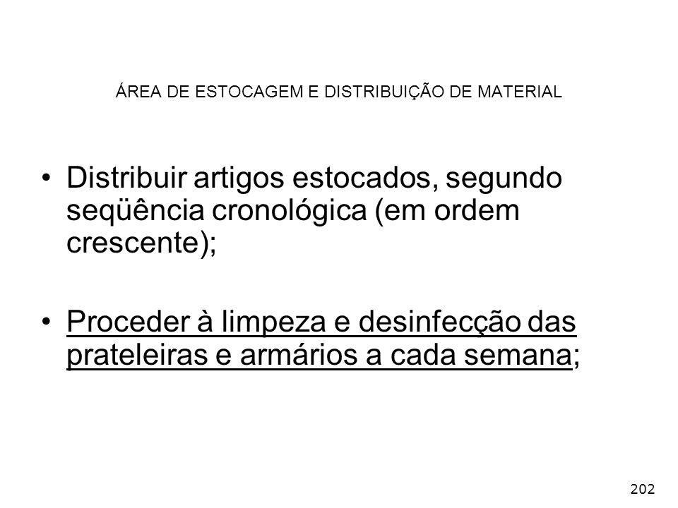 ÁREA DE ESTOCAGEM E DISTRIBUIÇÃO DE MATERIAL