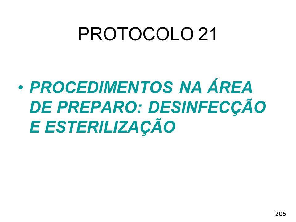 PROTOCOLO 21 PROCEDIMENTOS NA ÁREA DE PREPARO: DESINFECÇÃO E ESTERILIZAÇÃO 205