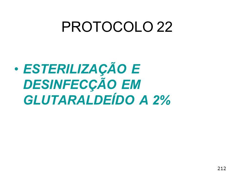 PROTOCOLO 22 ESTERILIZAÇÃO E DESINFECÇÃO EM GLUTARALDEÍDO A 2% 212