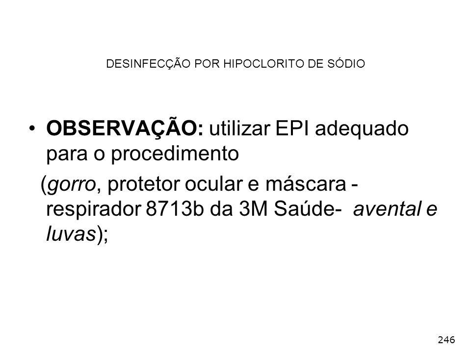DESINFECÇÃO POR HIPOCLORITO DE SÓDIO