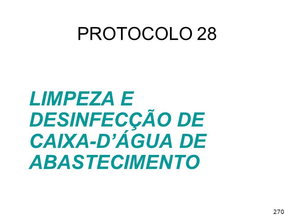 LIMPEZA E DESINFECÇÃO DE CAIXA-D'ÁGUA DE ABASTECIMENTO