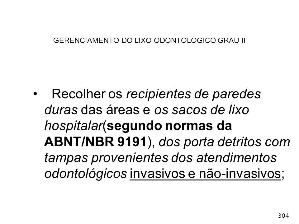 GERENCIAMENTO DO LIXO ODONTOLÓGICO GRAU II
