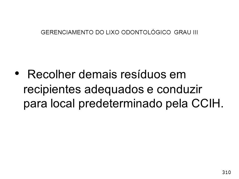 GERENCIAMENTO DO LIXO ODONTOLÓGICO GRAU III