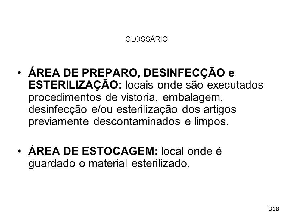 ÁREA DE ESTOCAGEM: local onde é guardado o material esterilizado.