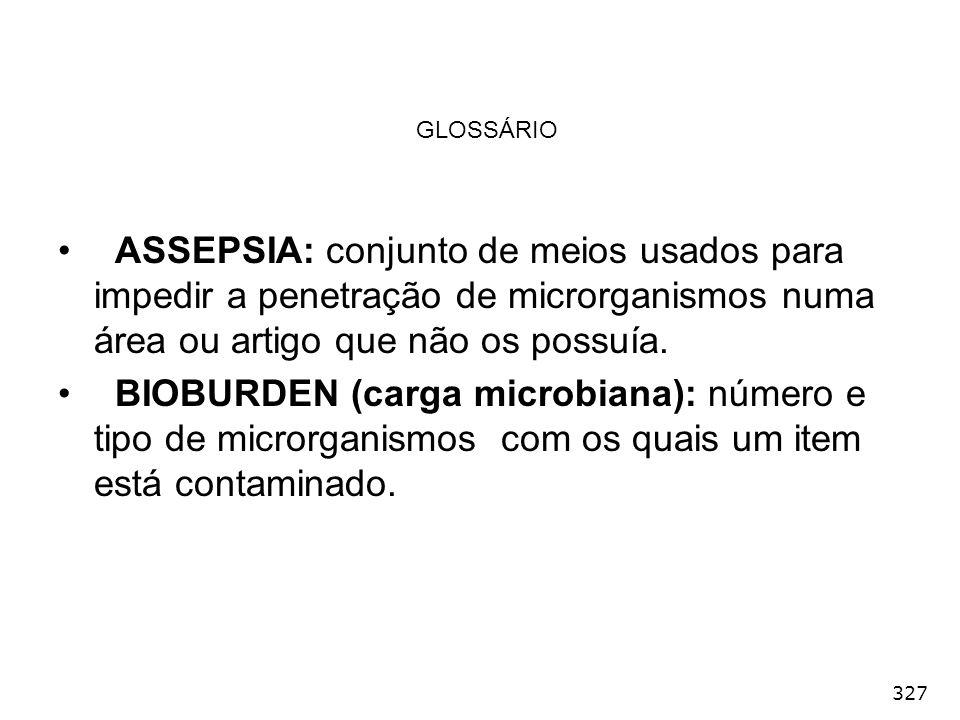 GLOSSÁRIO ASSEPSIA: conjunto de meios usados para impedir a penetração de microrganismos numa área ou artigo que não os possuía.