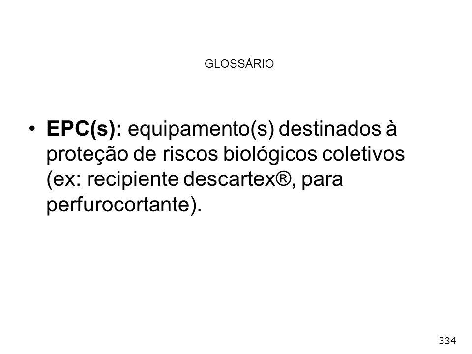 GLOSSÁRIO EPC(s): equipamento(s) destinados à proteção de riscos biológicos coletivos (ex: recipiente descartex®, para perfurocortante).
