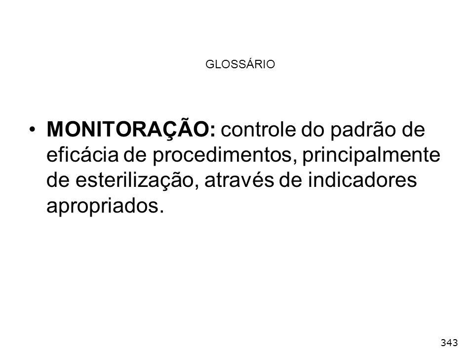 GLOSSÁRIO MONITORAÇÃO: controle do padrão de eficácia de procedimentos, principalmente de esterilização, através de indicadores apropriados.