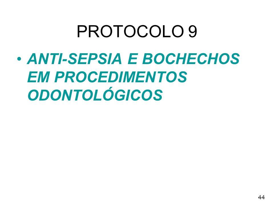 PROTOCOLO 9 ANTI-SEPSIA E BOCHECHOS EM PROCEDIMENTOS ODONTOLÓGICOS 44