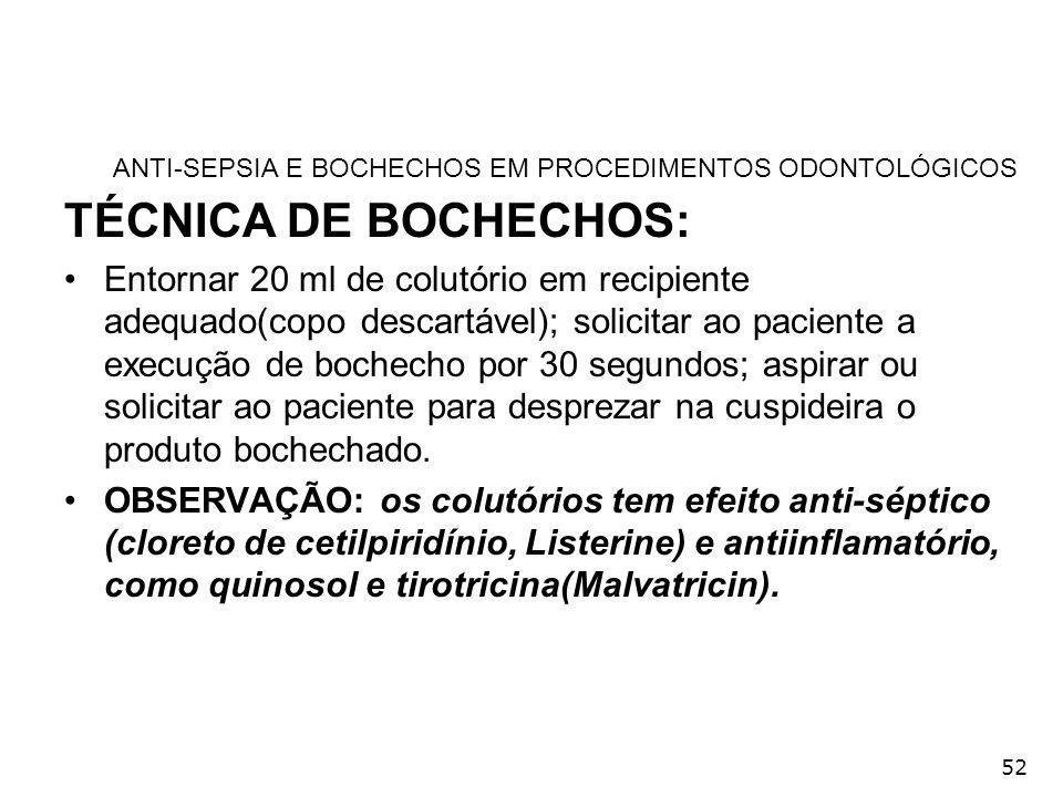 ANTI-SEPSIA E BOCHECHOS EM PROCEDIMENTOS ODONTOLÓGICOS