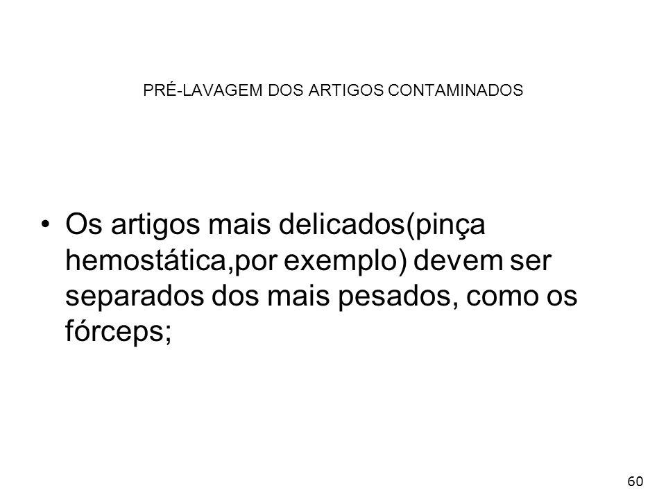 PRÉ-LAVAGEM DOS ARTIGOS CONTAMINADOS