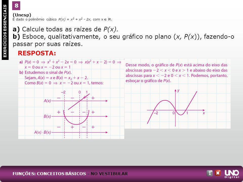 a) Calcule todas as raízes de P(x).